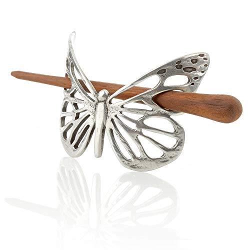 Celtic Butterfly Haarspange - Keltischer Schmetterling mit Stab aus Palisander