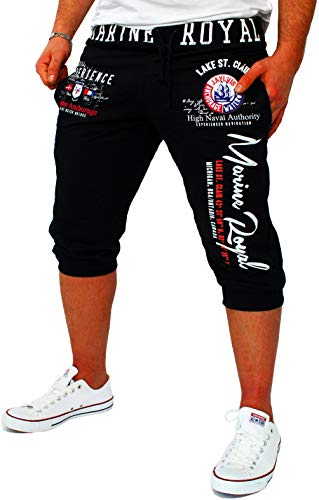 Herren Short Shorts Bermuda Kurze Hose Steetwear 3/4 Marine Royal Stretch (B.3484) (3XL), Schwarz