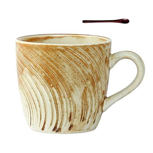 Kaffeebecher, Kaffeetassen, Steingut Großer Griff Kaffeetasse Mit Holz Löffel, Keramik-Becher for Kaffee, Tee, Kakao Und Glühwein Getränke, Geschirrspüler Und Mikrowelle Safe (Size : 280ml)