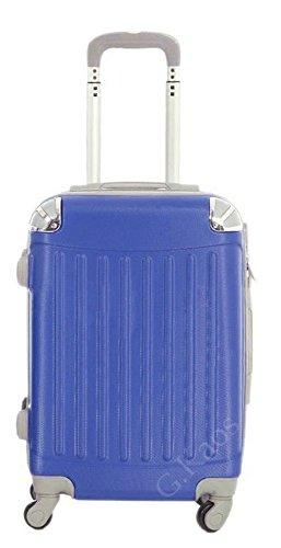 Trolley da cabina 56 cm valigia rigida in ABS policarbonato antigraffio e impermeabile per voli lowcost Easyjet Rayanair art. 2022 (Blu Royal)