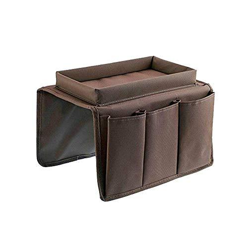 Fransande - Organizador de reposabrazos para sofá con 4 bolsillos y portavasos, bolsa de almacenamiento colgante para silla de sofá para telele, mando a distancia, color marrón