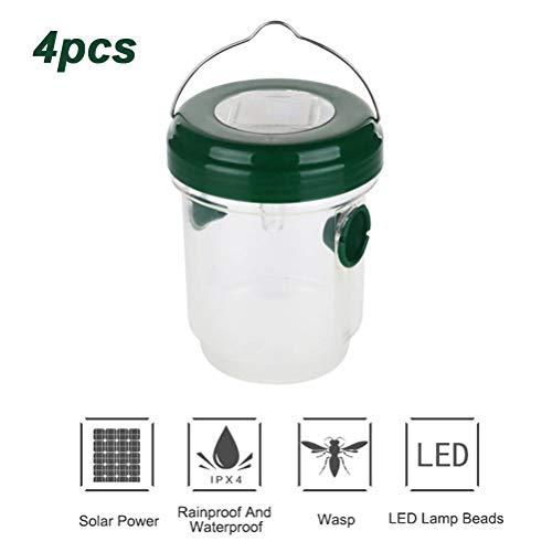 Asamio 4 solarbetriebene LED-Wespenfalle zum Aufhängen, Insektenschutz, Fliegenfalle Drosophila Falle Bienenfänger für Outdoor und Garten