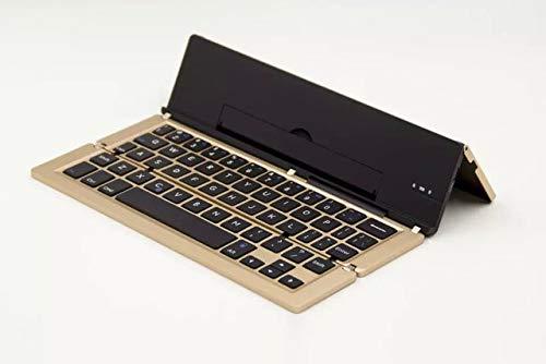 Tastiera wireless Bluetooth pieghevole con supporto in lega di alluminio per ricarica USB, per Windows, Android, IOS, cellulare, tablet, computer e notebook
