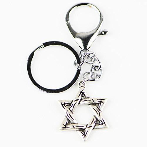 VAWAA Star of David Keychain Vintage Israel Jerusalem Metal Key Chain Shalom Memorial Bag Tag Jewish Religious KeyRings