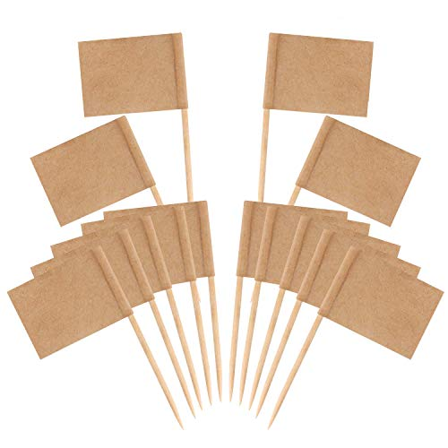 Senkary 200 Pack Blank Toothpick Flags Kraft Paper Flag Picks Cheese Markers for Cupcake, Food, Fruit, Party Decorations