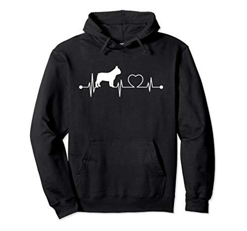 I Love French Bulldogs Hooded Sweatshirt, Dog Heartbeat Gift