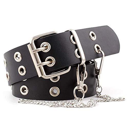 REYOK Cinturón de Doble Ojal de Piel PU de la Correa,Unisex de La Correa de Cintura,Hueco Remaches Cinturón De Doble Diente Hebilla del Cinturón,de 2 Agujeros Cinturón Vaquero para Mujeres y Hombres