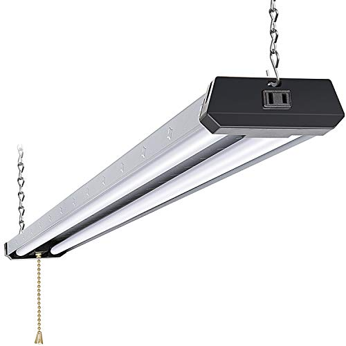 4FT Industrial Linkable LED Shop Light, Utility Shop Light Fixture, 42W, 5000K Daylight White Shop Lights for Workshop, Garage, Hanging or Surface Mount, with Power Cord and Pull Chain, ETL - 1 Pack
