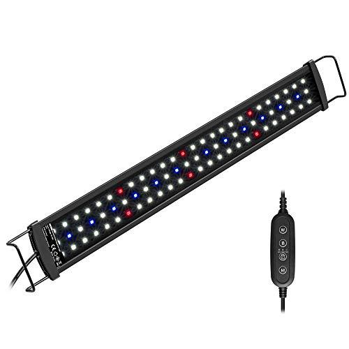 NICREW SlimLED Rampe LED Aquarium avec la Fonction Minuterie, Éclairage Réglables à Spectre Complet pour Plantes d'Aquarium d'eau Douce, 43-60 cm, 14W, 920 LM