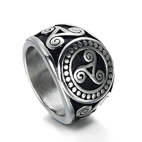 ANAZOZ Titan Ring Männer Dreieck Totem Muster Ringe für Herren Eheringe Silber Biker Ringe Größe 60 (19.1)