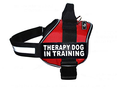 Therapy Dog in Training Nylon Dog Vest Harness. Purchase Comes with 2 Reflective Therapy Dog in Training pathces. Please Measure Your Dog Before Ordering (Girth 24-31