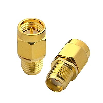 BOOBRIE SMA Coaxial Cable Adapter SMA Male to SMA Female Bulkhead Connector for FPV Antenna Extension Cable FPV Drone Fatshark Goggles Antennas Wi-Fi LMR Connector Pack of 2
