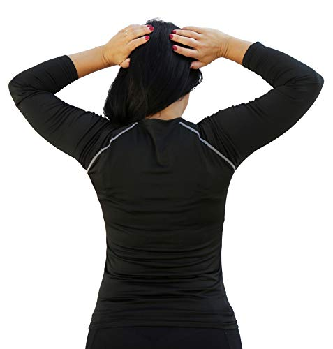 TETIUS Long Sleeve Running Top for Women - High-Performance Fabric Ladies Gym Top, Yoga Top, Workout Top - Black Long Sleeve Top for Ladies Fitness (Large)