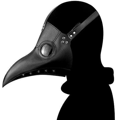 Ulalaza Plague Doctor Mask PU Leather Long Nose Bird Beak Steampunk Halloween Cosplay Party Props Costume