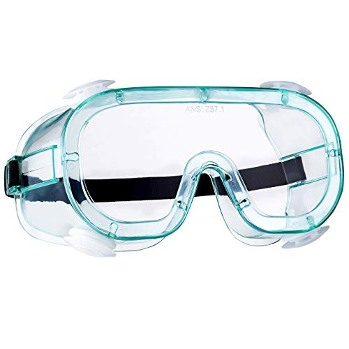 NoCry Protective Vented Safety Goggles with Anti-Fog Coating, Clear Scratch-Resistant Lenses, Universal OTG Fit, an Adjustable Headband, ANSI Z87.1 Rating, and UV Protection