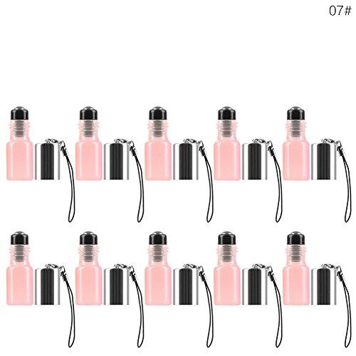 【 Gradient de bouteilles de voyage de couleur 】 vide Parfum rechargeable Bouteille en verre, Produits de toilette liquide conteneurs pour voyage Home Parfum rechargeable (lot de 10/1, 3ml)