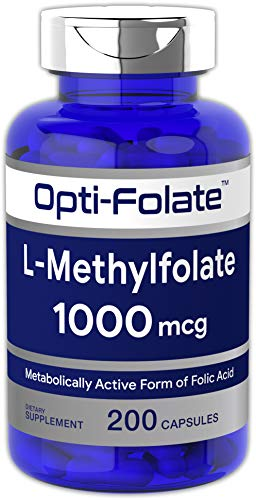 L Methylfolate 1000mcg | 200 Capsules | Value Size | Optimized and Activated | Non-GMO, Gluten Free | Methyl Folate, 5-MTHF | by Opti-Folate