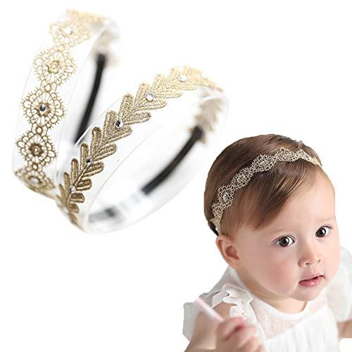 Baby Toddler Elastic Chiffon Flower Headbands Princess Girls Hand Sewing Beads Flower Lace Headwear Nylon Headband (MQ319)