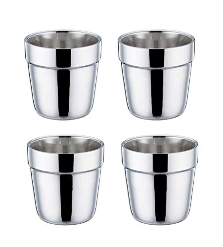 TeamFar Coffee Cup Espresso Cup Mug Set of 4, Double Wall Stainless Steel Tea Cups, Reusable & Stackable, Mirror Finish & Dishwasher Safe - 6 Ounce