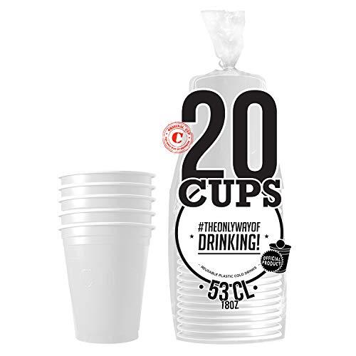 Pack de x20 Original White Cups Officiels | Gobelets Américains 53cl Blancs | Beer Pong | Qualité Premium | Gobelets en Plastique Réutilisables | Lavables Main ou Lave-Vaisselle | OriginalCup®