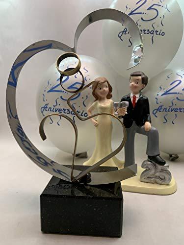 Regalo bodas de plata, figura tarta 25 aniversario y globos decoración PACK personalizado