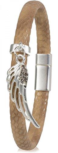 styleBREAKER Armband mit Flügel Anhänger und Strass Besatz, Schuppen Optik, Magnetverschluss, Damen 05040057, Farbe:Hellbraun