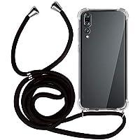 MyGadget Funda Transparente con Cordón para Huawei P20 Pro - Carcasa Cuerda y Esquinas Reforzadas en Silicona TPU - Case y Correa - Negro