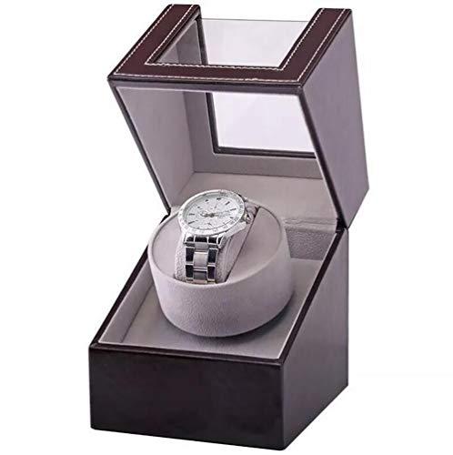 Caja automática para Reloj, Superficie de Cuero PU, Mecanismo de Cuerda automática, con Motor silencioso, Caja de Almacenamiento para 1 Solo Reloj, Negro/Marrón,Marrón