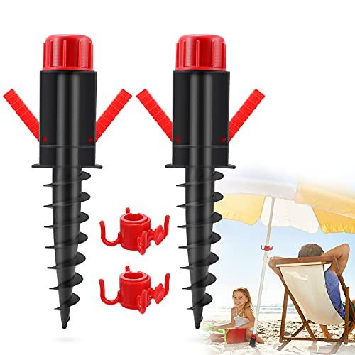 GIKPAL Pincho de Sombrillas, Soporte con Gancho Practico para Sombrillas de Playa, Pie de Anclaje Plástico para Suelo Arenoso, Ø 20-32 mm, 370 x 70 x 55 mm (2 PCS)