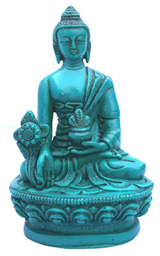 Medicine Buddha Turquoise for Healing, Meditation and Alter, Small Buddha Statue, Medicine Buddha Statue Handpainted by Himalayan Artisan in Nepal