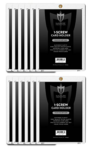 Max Pro 1 Screw Thick Card Holder - 50 Pt. (Lot of 10) Jersey or Memorabilia Card Screwdown - Baseball, Football, Basketball, Hockey, Golf, Single Sports Cards Sportcards Card Collecting Supplies
