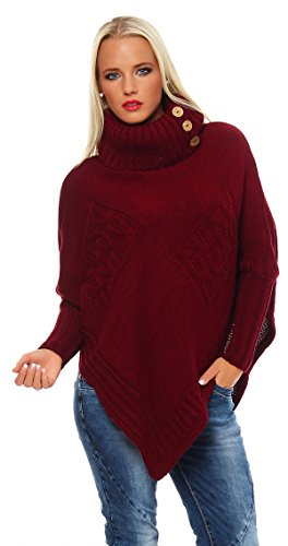 Mississhop Poncho Strick Sweatshirt Pullover Umhang Überwurf 30-01 Bordo