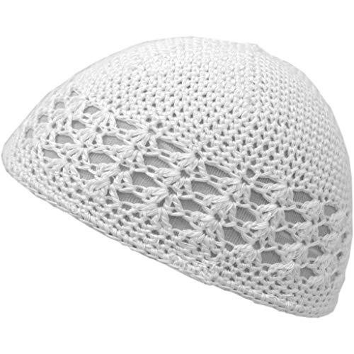 Shoe String King SSK Knit Kufi Hat - Koopy Cap - Crochet Beanie (White)