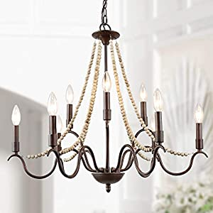 """LALUZ Farmhouse Chandelier for Dining Room, 9-Light Rustic Chandelier with Wood Bead Strings, Bronze Metal Arms, 28"""" L x 25.5"""" H"""