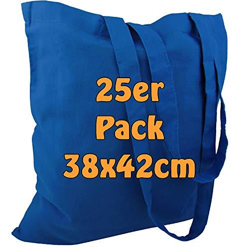 Cottonbagjoe Baumwolltasche Jutebeutel unbedruckt mit Zwei Langen Henkeln 38x42cm (Königsblau, 25 Stück)