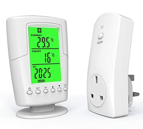 Decdeal Wireless Remote Thermostat, Smart Programmable Temperature Controller RF Plug...