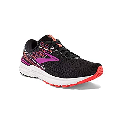 Brooks Womens Adrenaline GTS 19 Running Shoe - Black/Purple/Coral - 2A - 6.0