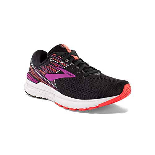 Brooks Womens Adrenaline GTS 19 Running Shoe - Black/Purple/Coral - D - 8.0