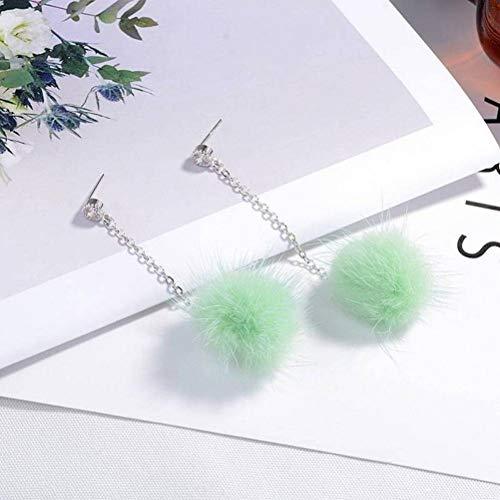 CWHao Pendientes de Bolas de Pelo Pendientes Femeninos Pendientes de Temperamento con Pendientes de Diamantes, Mint Green