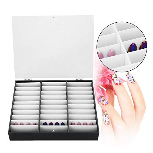 Valse Nagel Art Box, High End en Distinguished Manicure Tools Opbergdoos Lege Heldere Nagel Art Decoratie Strass Edelsteen Kralen Container Zwart