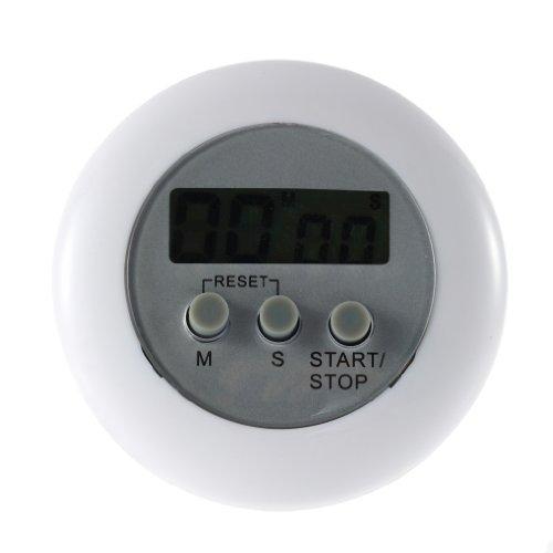 YLWL Nouveau Mignon Mini Rond LCD Cuisson numérique Maison Cuisine Compte à rebours UP minuterie Alarme Blanc