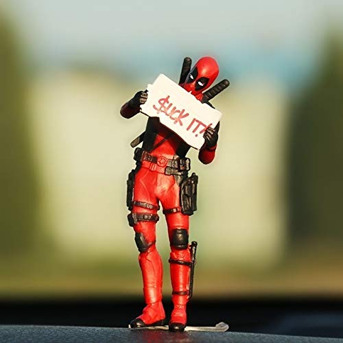 SHOP YJX Auto-Verzierungen Persönlichkeit Auto Deadpool Ornament Action-Figur Sitzen Modell Anime Mini-Puppe-Autodekoration Autozubehör (Color Name : Orange)
