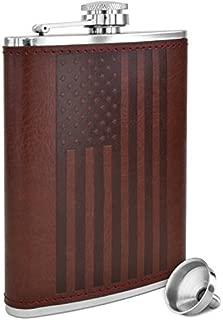 American Flag Flask - 8 oz Premium Soft Touch Leather Wrap | 18/8 304 Highest Food Grade Stainless Steel | Leak Proof Slim Hip Flasks | Classic American Flag Design | Bonus Funnel