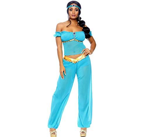 Leg Avenue Romantisches 1001 Nacht Bauchtänzerinnen Damenkostüm blau-Gold S