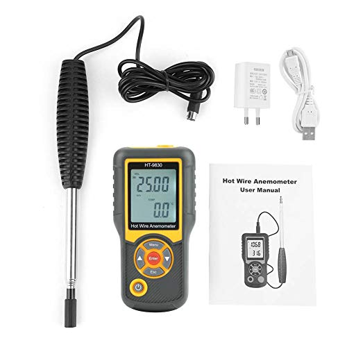 Anemometro Portatile, Akozon HT-9830 Anemometro Digitale Misuratore di Velocità del Vento Termometro Palmare 5 Unità con Retroilluminazione Windmaster