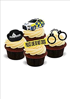 POLICE MIX - Fun Novelty PREMIUM STAND UP Edible Wafer Paper Cake Toppers Decoration
