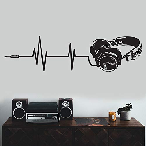 Pegatina de pared para auriculares, música, arte, Dj, troquelado, resistente a la intemperie, calcomanía, silueta, decoración, Mural, pegatina para auriculares A8 57x14cm