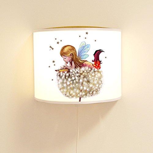 ilka parey wandtattoo-welt Leseschlummerlampe kleine Elfe Schlummerlampe Wandlampe Lampe mit Elfe Fee Pusteblume und Sterne ls72