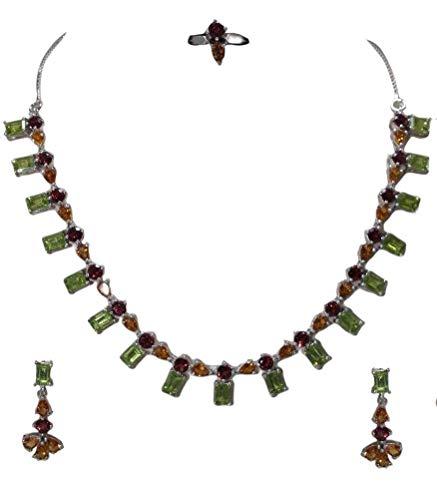 Rajasthan Gems - Juego de pendientes de plata de ley 925, diseño de peridoto, granate y topacio dorado
