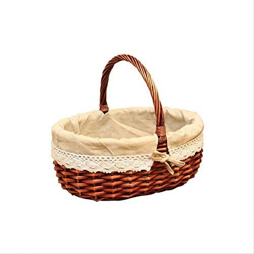 KGCA Einkaufskorb Rattan Bambuskorb Geschenkkorb Obstkorb Lagerung Picknick 37 * 29 * 15Cm
